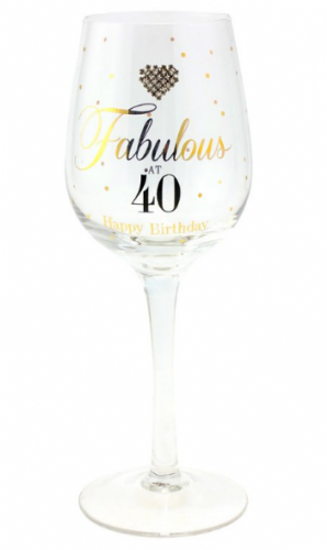 MAD DOTS FAB AT 40 WINE GLASS